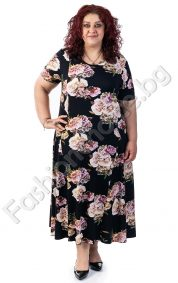 Елегантна дълга макси рокля в красив принт на рози