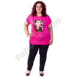 Прелестна лятна макси блуза с кокетна щампа и блестящи камъни