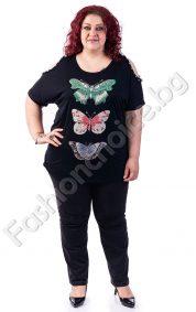 Дамска макси блуза със секси ръкав и блестящи пеперуди