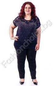Обаятелна макси блузка с красива дантела и камъчета