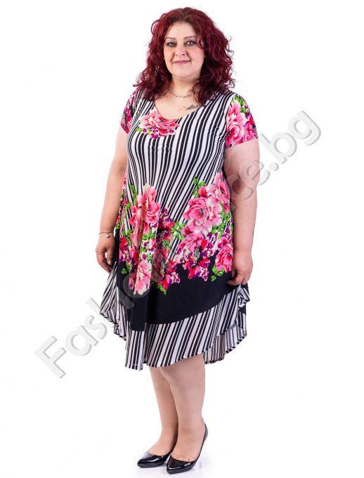 Оригинална макси рокля на райета и флорални мотиви