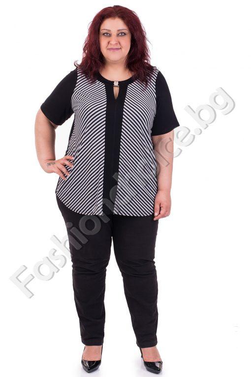 Очарователна дамска макси блуза в черно- бял десен