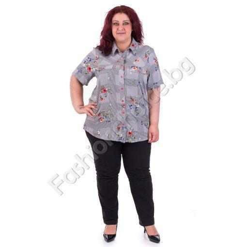 Стилна дамска макси риза на цветя и ситно каре