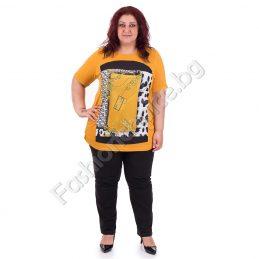 Дамска макси блуза с интересна щампа в цвят горчица