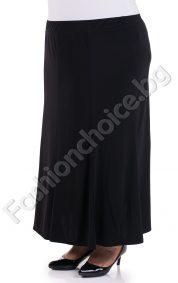 Елегантна дълга макси разкроена пола с ластик и воланчета