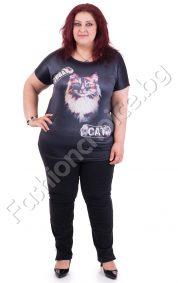 Закачлива дамска блуза с щампа- малко коте/макси размери/