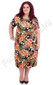 Изумително красива лятна макси рокля в топли цветни нюанси
