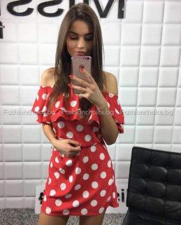Сладка дамска рокля на точки с голи рамене в два цвята