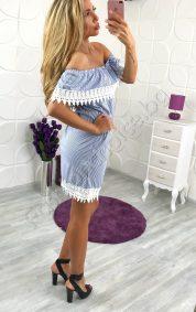 Прекрасна дамска рокля в райе и сладко деколте