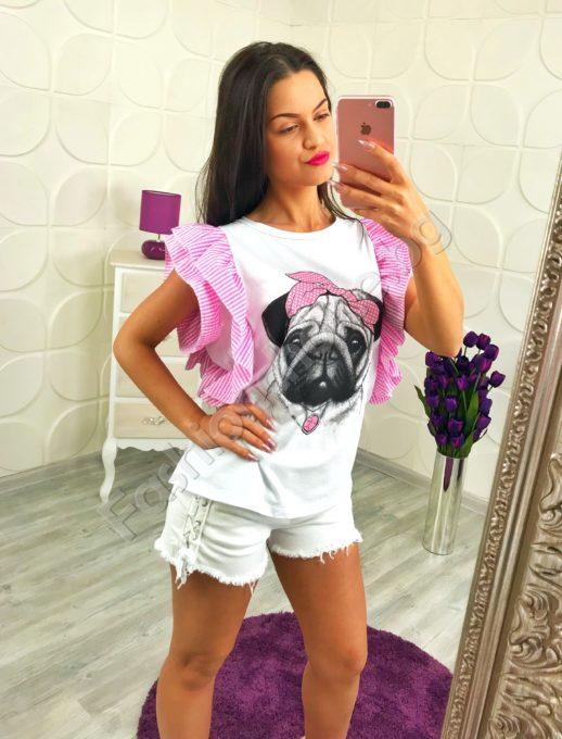 Модерна дамска блузка с весела щампа - кученце