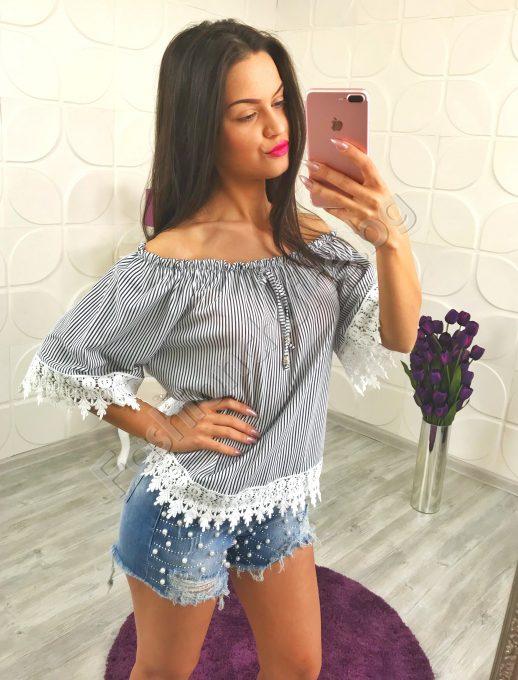 Шикозна дамска блузка с райе в два десена