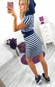 Дамски комплект с поличка и блуза с качулка в райе