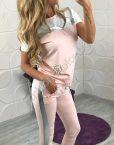 Хит модел летен дамски спортен екип с модна апликация от перли