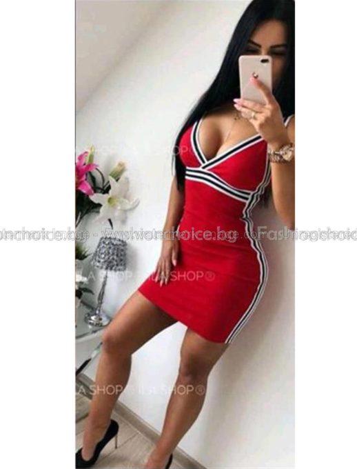 Къса секси рокличка с кант в черно и червено
