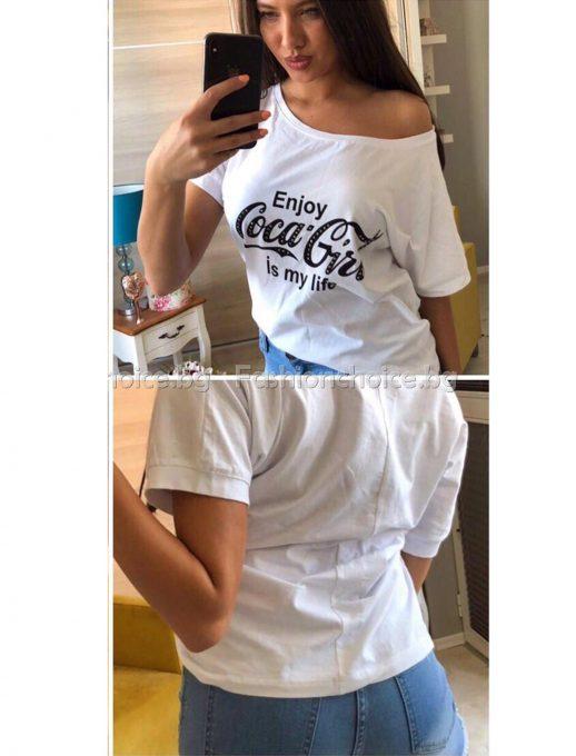 Ефектна дамска блуза с актуален надпис в три цвята