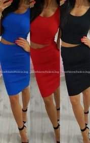 Летен дамски комплект от пола и потниче в модни цветове
