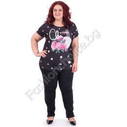 Стилна макси блуза на точки с букет от розови божури