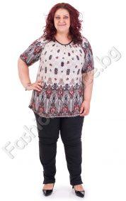 Стилна дамска макси блуза с щампа на цветя