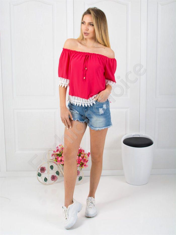 Красива дамска блузка с дантела в цвят циклама-код 488-1