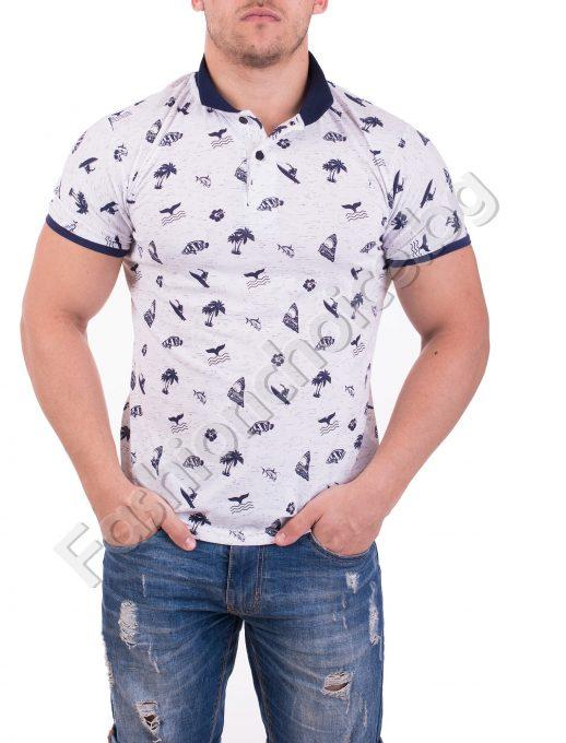 Чудесна мъжка блуза с морски елементи в бяло