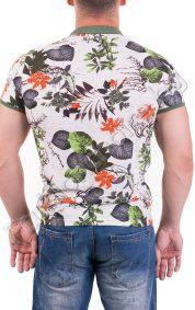 Пъстра мъжка блуза с якичка в летен принт