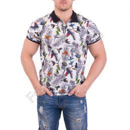 Цветна лятна мъжка блуза с копчета и якичка