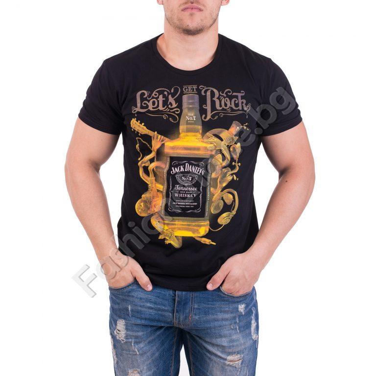 Модерна мъжка тениска с щампа Jack Daniels