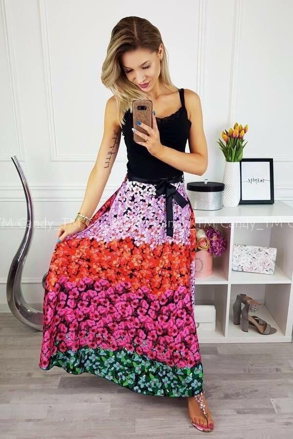Невероятна дълга дамска пола в пъстри цветове