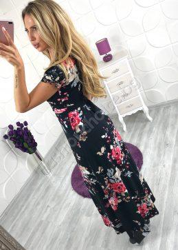 Романтична дълга рокля на прекрасни цветя в черно