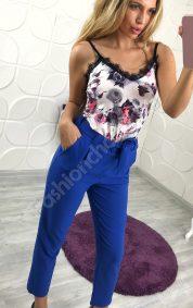 Елегантен летен дамски панталон с висока талия