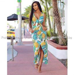 Уникална дълга рокля в свеж летен десен