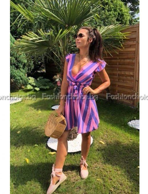 Модерна секси рокля на райе за лятото