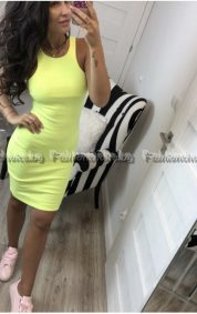 Сладка дамска рокля в жълт цвят