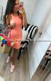 Сладка дамска рокля в цвят пудра