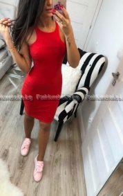 Сладка дамска рокля в червен цвят