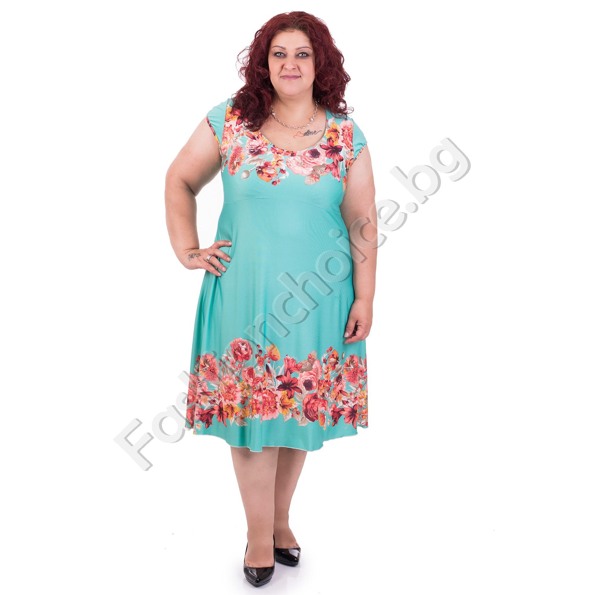 Красива и комфортна лятна рокля на цветя /макси размери/