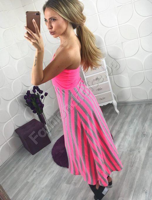 Дълга рокля тип бюстие в неонов розов цвят и сиво райе