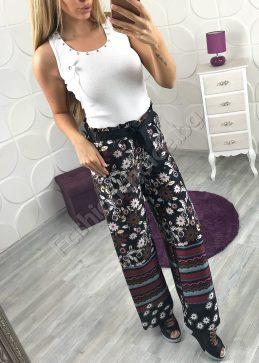 Стилен широк панталон с висока талия с флорални мотиви