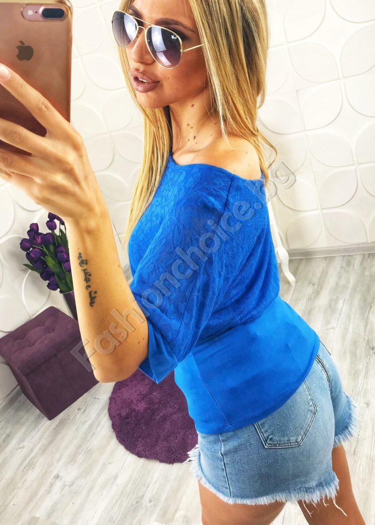 Невероятна дамска блуза с ефектно деколте в пет нюанса