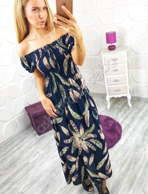 Прекрасна дълга лятна дамска рокля с ластик и връзка в горната част