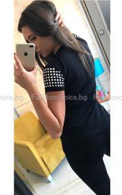 Модерна черна дамска блузка с капси