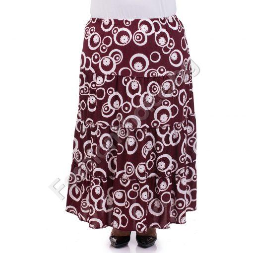 Практична дълга макси пола в бордо с абстрактен принт