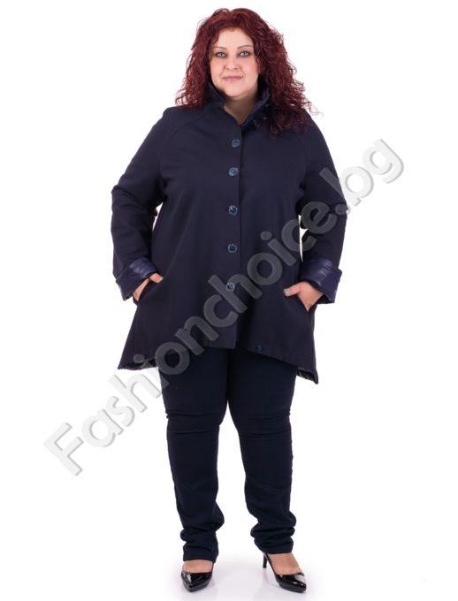 Модерно разкроено палто в тъмносиньо и черно за макси дами