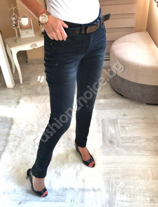 Ефектни черни дамски дънки с кожен колан /№30 до №36/
