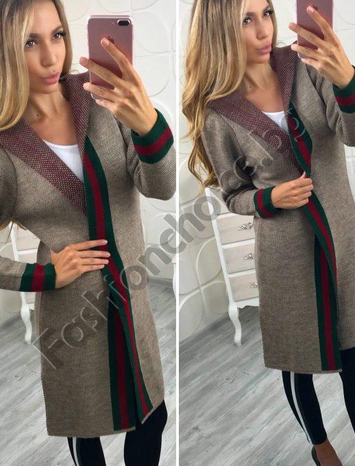 Стилна дамска плетена жилетка с качулка