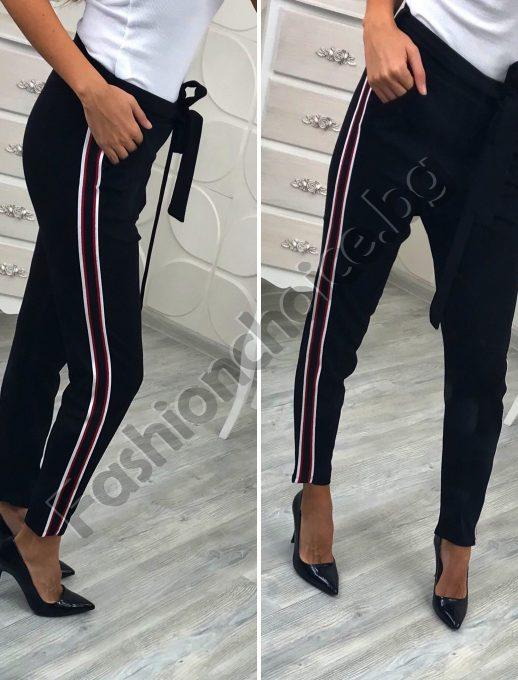 Невероятен дамски панталон с модерен цветен кант