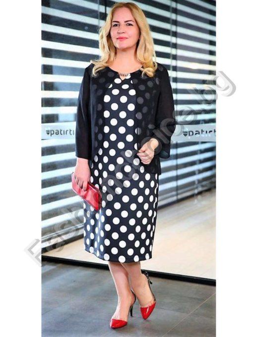 Красива и стилна макси рокля на точки в два цвята/макси размери/