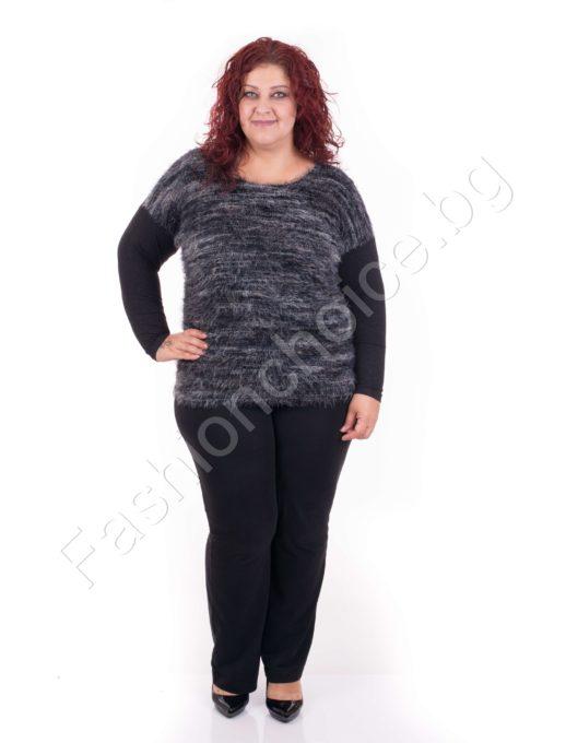 Дамска макси блуза от мека ангора в два нюанса