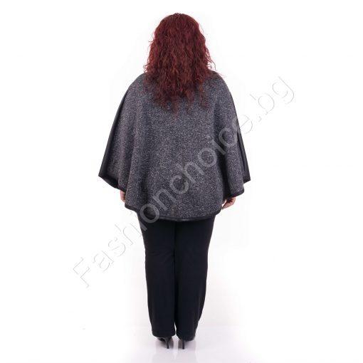 Интересен модел дамско пончо в сив меланж/макси размер/