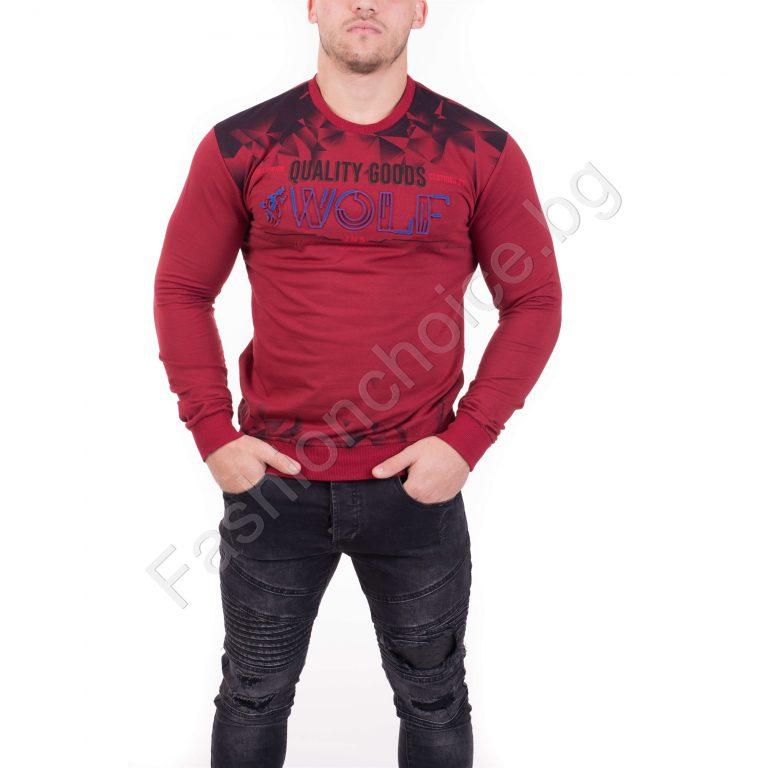 Мека памучна мъжка блуза с надпис WOLF в четири нюанса